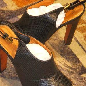 Coach snakeskin open toe slingback high heels